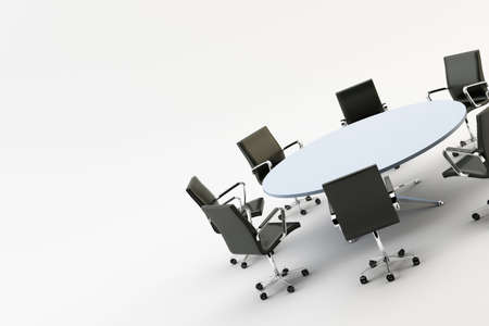 boardroom: Black chairs around a light office table