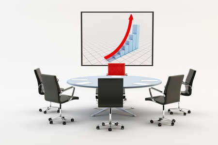 Black chairs around a light office table with a chart Stock Photo - 10698164