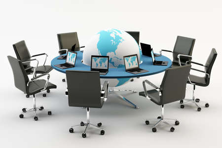 directors: Black chairs around a light office table with world an pc