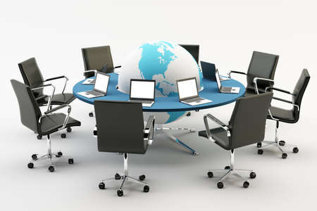 Black chairs around a light office table with world an pc