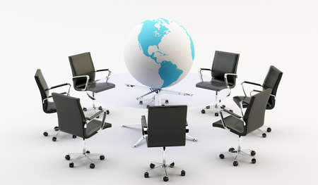 world economy: Black chairs around a light office table and a world Stock Photo
