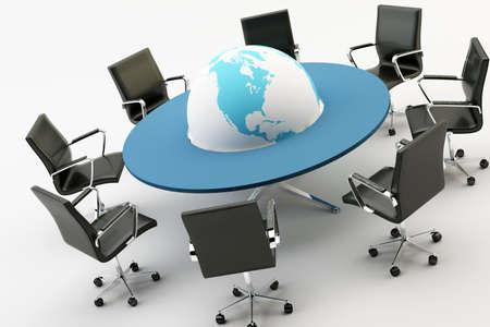 軽負荷のオフィスのテーブルと、世界の周りの黒い椅子 写真素材 - 10698172