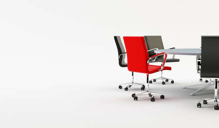 table boardroom: Black chairs around a light office table