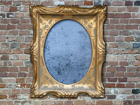 A vintage golden frame on a dark brick wall Stock Photo - 11012159