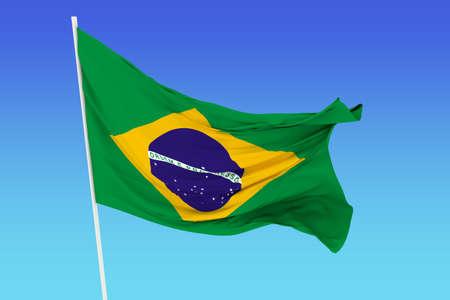 brazil symbol: A flag of Brazil in the wind Stock Photo