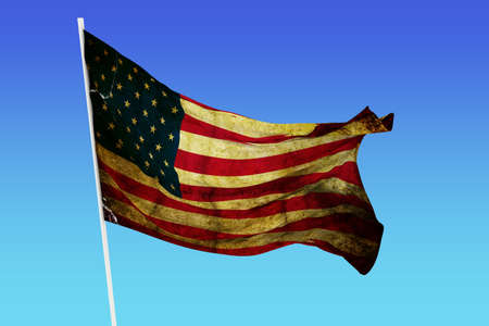 A grunge flag of USA in the wind photo