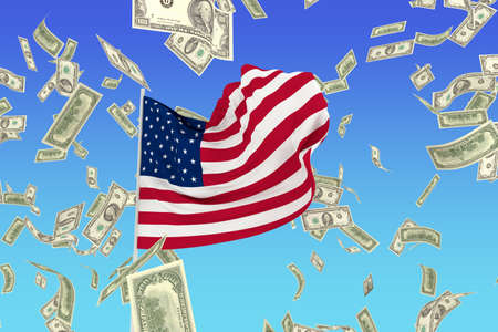 A flag of USA in the wind with dollars photo