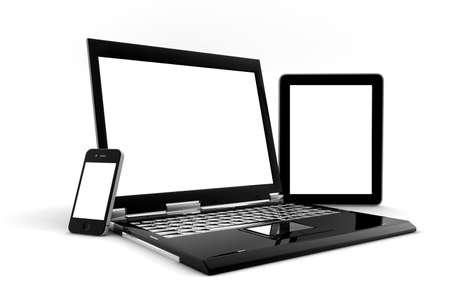 Telefoon, PC en tablet met leeg scherm voor exemplaarruimte