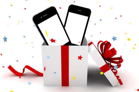 Telefoni cellulari con schermo bianco all'interno di un dono