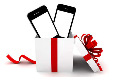 Mobile phones with white screen inside a gift photo