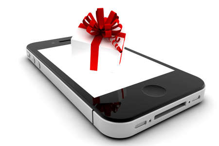 Mobile phone with a gift inside the screen photo