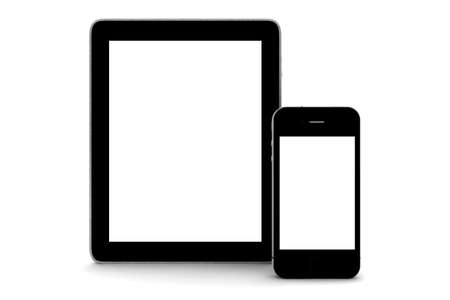 A black tablet and phone isolated on white Stock Photo - 11739770