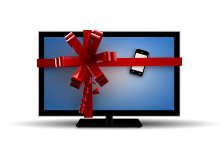 A gift with a tv and a phone Stock Photo - 11931885
