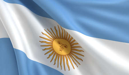 A flag of Argentina in the wind Stock Photo