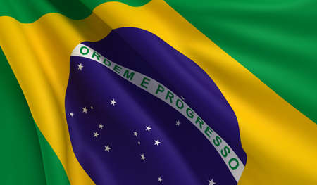 flapping: A flag of Brazil in the wind Stock Photo