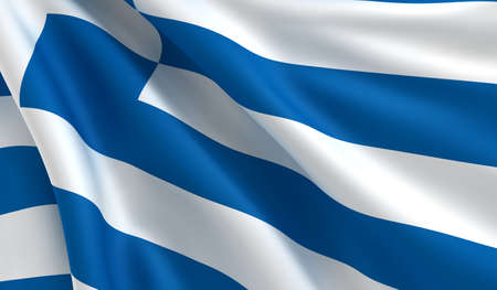 flapping: A flag of Greece in the wind