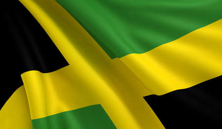 A flag of Jamaica in the wind photo