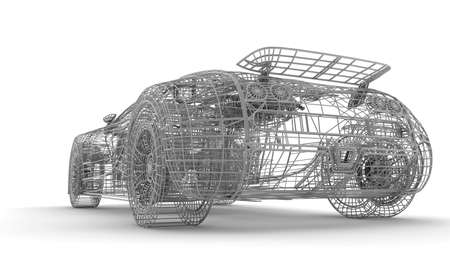 A wireframe car on a white background