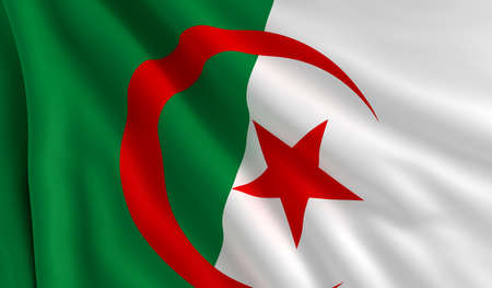A flag of Algeria in the wind photo