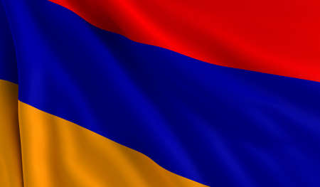 A flag of Armenia in the wind photo