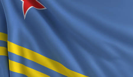 A flag of Aruba in the wind photo