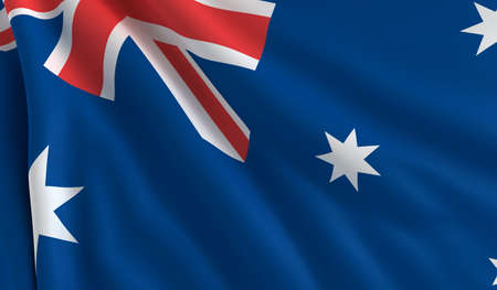 A flag of Australia in the wind photo