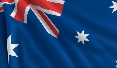 australia flag: A flag of Australia in the wind