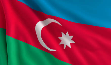 azerbaijan: A flag of Azerbaijan in the wind Stock Photo