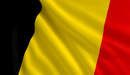 belgium flag: A flag of Belgium in the wind Stock Photo