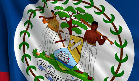 A flag of Belize in the wind photo