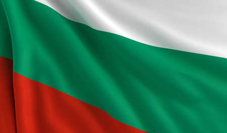 A flag of Bulgaria in the wind photo