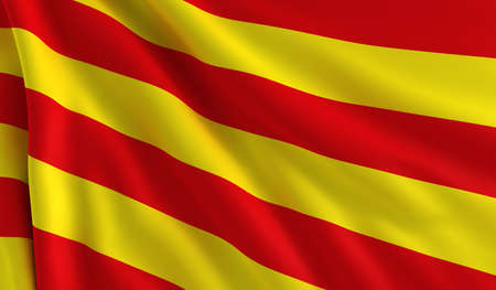 catalonia: A flag of Catalonia in the wind Stock Photo