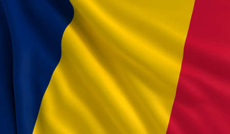 chad: A flag of Chad in the wind