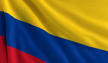 colombia flag: A flag of Colombia in the wind Stock Photo
