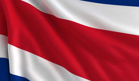 costa rica flag: A flag of Costa Rica in the wind Stock Photo