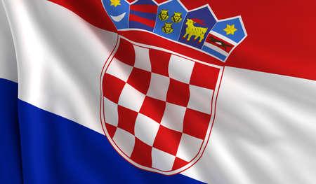 bandera de croacia: Una bandera de Croacia en el viento Foto de archivo