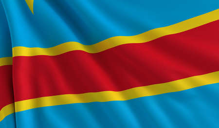 congo: A flag of Democratic Republic of the Congo in the wind