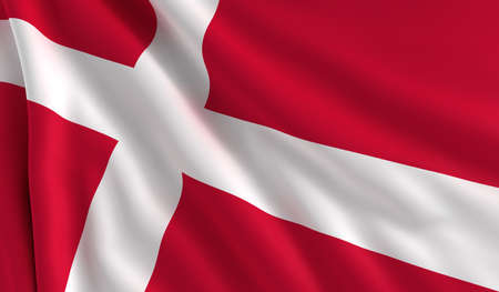 flapping: A flag of Denmark in the wind