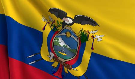 ecuador: A flag of Ecuador in the wind Stock Photo