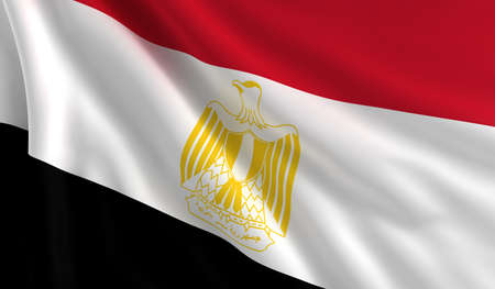 egypt flag: A flag of Egypt in the wind