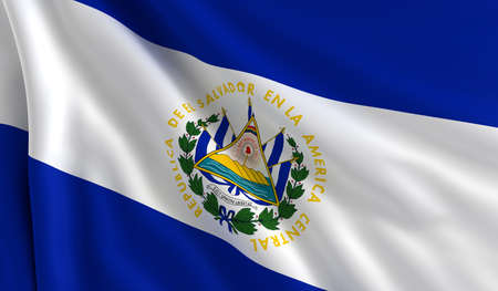 el salvador: A flag of El Salvador in the wind