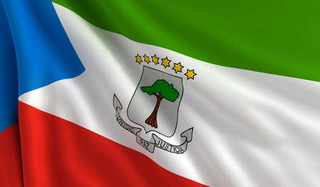 guinea: A flag of Equatorial Guinea in the wind Stock Photo