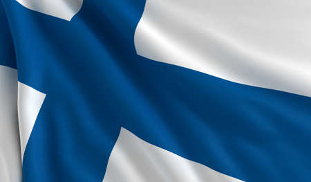 A flag of Finland in the wind photo