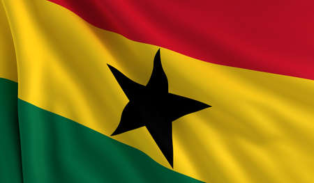 A flag of Ghana in the wind photo
