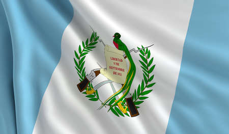 A flag of Guatemala in the wind photo