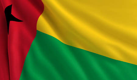 bissau: A flag of Guinea Bissau in the wind Stock Photo