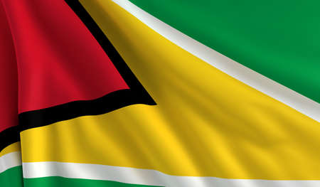 A flag of Guyana in the wind photo