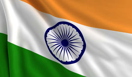 A flag of India in the wind photo