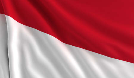 A flag of Indonesia in the wind photo