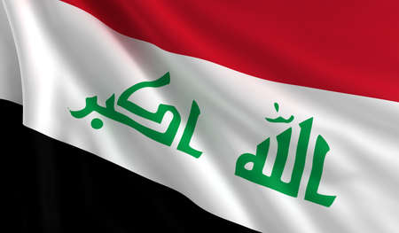 A flag of Iraq in the wind photo